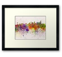 Seattle skyline in watercolor background Framed Print