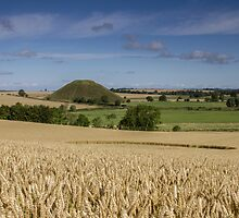 Silbury Hill and crop circle by Angie Latham