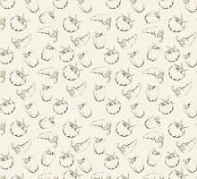Vegetable pattern on beige background by Kotkoa