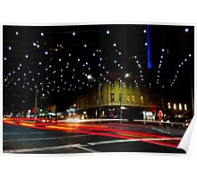 Russell and Lonsdale by Night - Melbourne, Victoria Poster