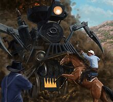 Monster Train attacking Cowboys by martyee
