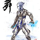 Mass Effect Liara Sumie style with Japanese Calligraphy by Mycks