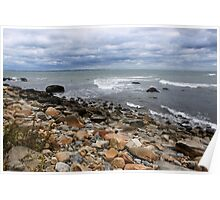 About to Rain on a Rocky Shore Poster