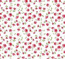 Pink flowers fabric, seampless pattern by Kotkoa
