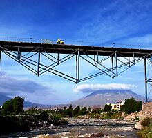 The Biker crossing the Bridge above the Misti ! by Alessandro Pinto