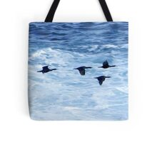 Cormorants  Skimming the Waves off Inishmore Tote Bag