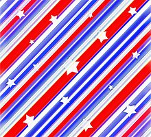 Usa Stars Design Colorful Abstract Motif by DFLC Prints