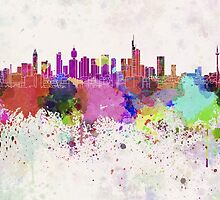 Frankfurt skyline in watercolor background by paulrommer