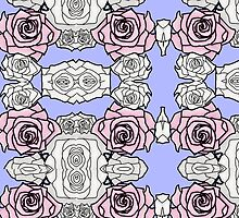 Rose Repeat Pattern - Blue by BRIllustrations