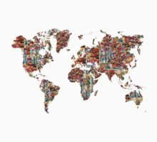 world map collage  Kids Clothes
