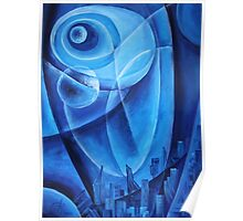 Oil painting - Abstracterra Blue. 2011 Poster