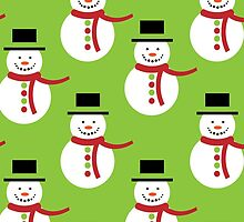 Snowman, Hat, Scarf, Buttons - Red Green White by sitnica