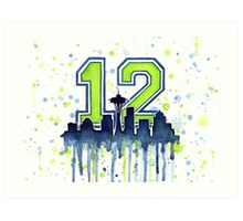 Seattle Seahawks 12th Man Fan Art Art Print