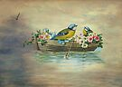 Birds In Boat Fantasy by Sandra Foster