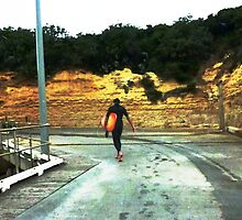 Surfer homeward bound at Port Campbell Vic. Aust. by EdsMum