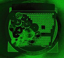 Green Neon Gear Abstract by Gary Conner