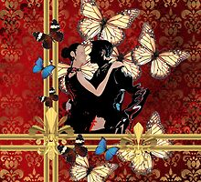 Butterfly tango and red damask by oconnart