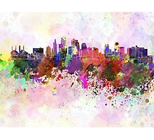 Kansas City skyline in watercolor background Photographic Print