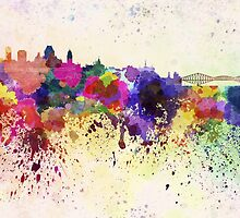 Quebec skyline in watercolor background by paulrommer