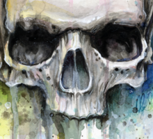 Skull Watercolor Painting Sticker