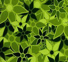 Green Vintage Trendy Floral Pattern by Nhan Ngo