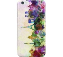 Paris skyline in watercolor background iPhone Case/Skin
