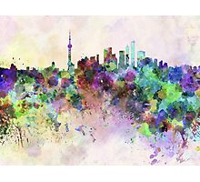 Shanghai skyline in watercolor background Photographic Print