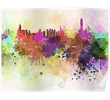Hong Kong skyline in watercolor background Poster