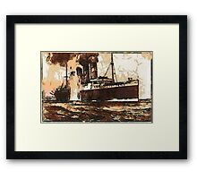 A digital painting of  R.M.S. Lusitania, hit by torpedos off Kinsale Head, Ireland 1915 Framed Print