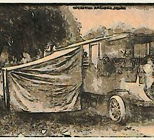 A digital painting of a Mobile Operating Theatre in France 1914, WW1 by Dennis Melling