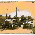 A digital painting of British Armoured Vehicles and Cars, in France, during WW1 by Dennis Melling