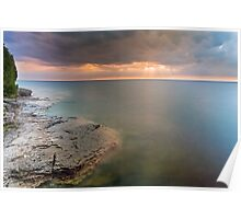 Moody Lake Michigan Sunrise on Wisconsin Coast Poster