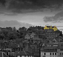 Stirling castle above the rooftops by Derek Corner