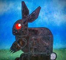 robotic death bunny painted on a used baking sheet by joose206