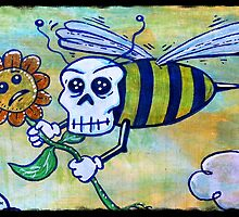 Bumble Skull Mixed Media Print by chongolio