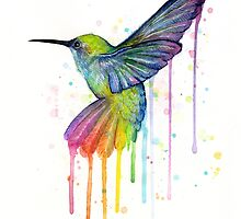 Rainbow Hummingbird Watercolor by OlechkaDesign