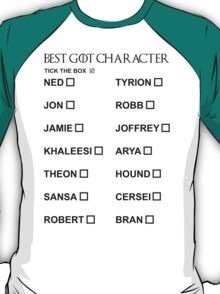 Best Game of Thrones character T-Shirt