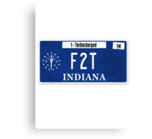 License Plate - F2T Canvas Print