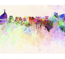 Rio de Janeiro skyline in watercolor background Photographic Print