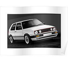 Poster artwork - Golf GTI mk2 in White Poster