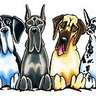 Four Great Danes by offleashart