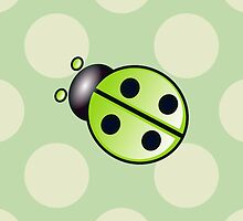 Ladybug (Ladybird, Lady Beetle) with Dots - Green by sitnica