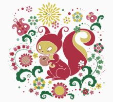 RED Squirrel with Nut. Russian Background. Transparent.  T-Shirt