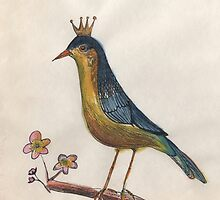 Crowned perky bird by inkmaid