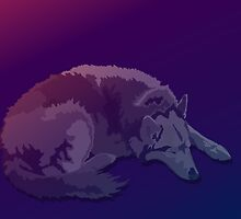 Sleeping Wolf at Sunset by SpiralArtistry