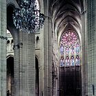 North transept and rose window from crossing Cathedral Soissons France 198405070007 by Fred Mitchell