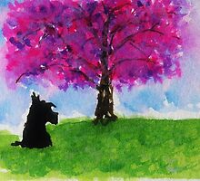 Scottie Dog 'Cherry Blossom Tree' by archyscottie