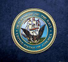 U.S. Navy - USN Emblem 3D on Blue Velvet by Captain7