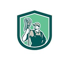 Janitor Cleaner Holding Mop Shield Retro by patrimonio