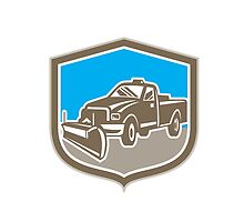Snow Plow Truck Shield Retro by patrimonio